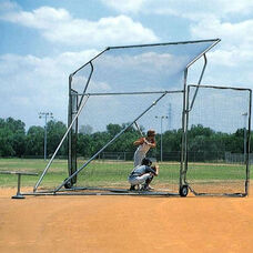 Sandlot Galvanized Steel Frame Portable Backstop with Wheels
