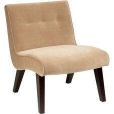 Ave Six Curves Valencia Accent Chair with Espresso Finish Wood - Coffee Velvet