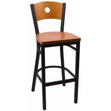 Circle Series Wood Back Armless Barstool with Steel Frame and Wood Seat - Cherry