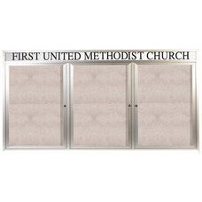3 Door Outdoor Enclosed Bulletin Board with Header and Aluminum Frame - 36