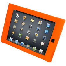 Orange Kid-Friendly Form Fitting Shock Absorbing Protective Silicone iPad Case with Thick Handle-Like Areas and Raised Edges Above Screen - 7.5