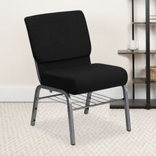 HERCULES™ Series Auditorium Chair - Chair with Storage - 21inch Wide Seat - Black Fabric/Silver Vein Frame