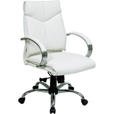 Pro-Line II Deluxe Mid Back Executive Leather Office Chair with Padded Chrome Arms and Base - White
