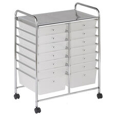 14 Drawer Mobile Organizer with Chrome-Plated Top Shelf and White Pullout Drawers