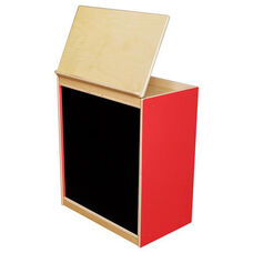Strawberry Red Big Book Display and Storage with Locking Piano Hinged Top with Flannel on Front - Assembled - 24