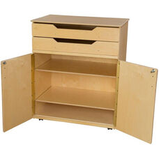 Wooden Mobile Storage Cabinet with 2 Adjustable Shelves and 2 Top Drawers - 36