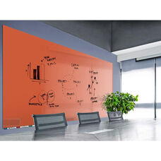 Aria Horizontal Magnetic Glass Dry Erase Board with 4 Markers, Eraser, and 4 Rare Earth Magnets - Peach - 36