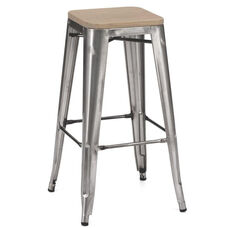 Dreux Clear Gunmetal Stackable Steel Barstool with Light Elm Wood Seat - Set of 4