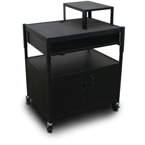 Our Spartan Series Adjustable Media Projector Cart and Cabinet with One Pull-Out Front-Shelf and Expansion Shelf - Black is on sale now.