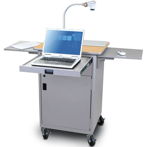 Our Vizion Teaching Presentation Cart with Locking Cabinet and Steel Doors - Silver Powdercoat Paint and Kensington Maple Laminate is on sale now.