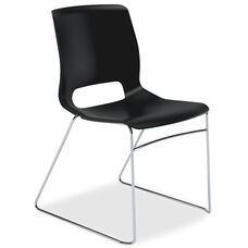 The HON Company Motivate Onyx Sled-based Stacking Chairs - Carton of 4
