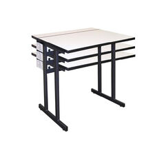 Computer Table w/Adjustable Height Double Pedestal Base