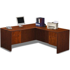 Cherry Simple Workstation with Hanging Pedestals