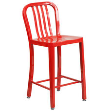 "24"" High Red Metal Indoor-Outdoor Counter Height Stool with Vertical Slat Back"