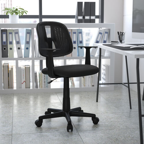 Basics Mid-Back Mesh Swivel Task Office Chair with Pivot Back, Black, BIFMA Certified
