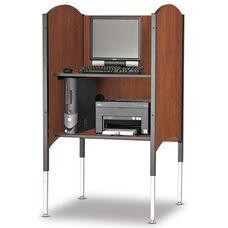 45.5''H to 57.5''H Adjustable Kiosk Carrel with Printer Shelf - Wild Cherry