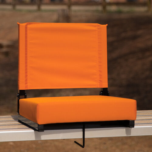 Grandstand Comfort Seats by Flash - 500 lb. Rated Lightweight Stadium Chair with Handle & Ultra-Padded Seat, Orange