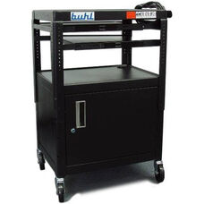 Black Height Adjustable AV Media Cart with Lockable One Door Security Cabinet and Two Pull-Out Shelves - 24