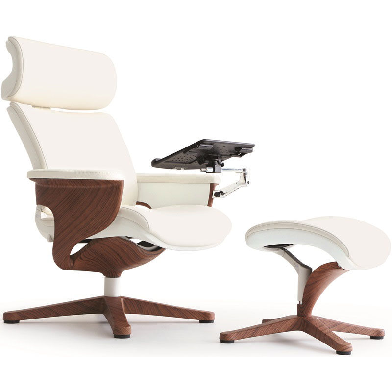 ... Our Nuvem Leather Office Chair with Footrest and Built in Laptop Holder - White with Teak ...  sc 1 st  SchoolFurniture4Less.com & Leather Chair and Footrest White NUVEMWHT | SchoolFurniture4Less.com