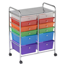 12 Drawer Mobile Organizer with Chrome-Plated Top Shelf and Assorted Colors Pullout Drawers - 4 Large