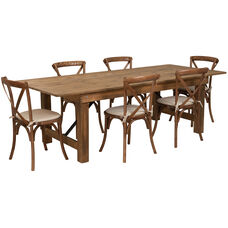 HERCULES Series 8' x 40'' Antique Rustic Folding Farm Table Set with 6 Cross Back Chairs and Cushions