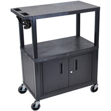 Molded Thermoplastic Resin 3 Shelf Presentation Cart with Locking Cabinet - Black - 32