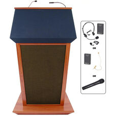 Patriot Plus Wireless 50 Watt Sound and Hand Held Mic Lectern - Mahogany Finish - 31