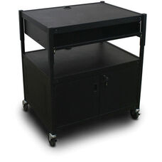 Spartan Series Adjustable Media Projector Cart and Cabinet with One Pull-Out Front-Shelf - Black