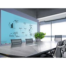 Aria Horizontal Magnetic Glass Dry Erase Board with 4 Markers, Eraser, and 4 Rare Earth Magnets - Blue - 36