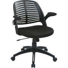 Ave Six Tyler Black Frame and Mesh Fabric Seat Office Chair with Padded Armrests and Casters - Black