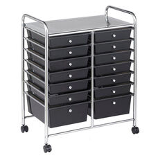14 Drawer Mobile Organizer with Chrome-Plated Top Shelf and Smoke Colored Pullout Drawers