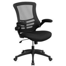 Mid-Back Black Mesh Swivel Ergonomic Task Office Chair with Flip-Up Arms