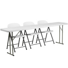 8-Foot Plastic Folding Training Table Set with 3 White Plastic Folding Chairs