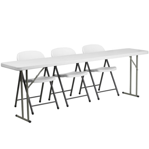 Our 8-Foot Plastic Folding Training Table Set with 3 White Plastic Folding Chairs is on sale now.