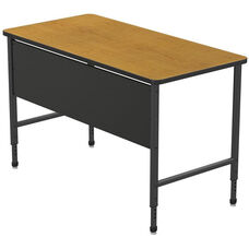 Apex Series Height Adjustable Stand Up Desk with PVC Edge - Solar Oak Top with Black Edge and Legs - 60