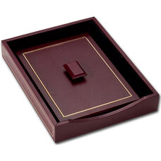 24Kt Gold Tooled Front Load Letter Tray with Lid - Burgundy