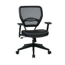 Space Professional Air Grid Back Managers Chair with Black Bonded Leather Seat and 2-to-1 Synchro Tilt Control - Black