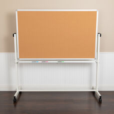 "HERCULES Series 53""W x 59""H Reversible Mobile Cork Bulletin Board and White Board with Pen Tray"