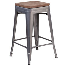 """24"""" High Backless Clear Coated Metal Counter Height Stool with Square Wood Seat"""
