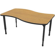Apex Series Height Adjustable Wave Activity Table - Solar Oak Top with Black Edge and Legs - 54