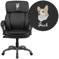 Embroidered High Back Black Leather Executive Swivel Ergonomic Office Chair with Lumbar Support Knob with Arms