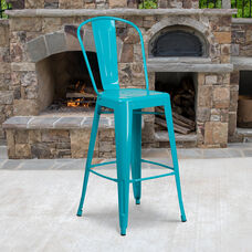 """Commercial Grade 30"""" High Crystal Teal-Blue Metal Indoor-Outdoor Barstool with Back"""