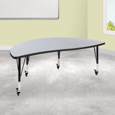 """Mobile 60"""" Half Circle Wave Collaborative Grey Thermal Laminate Activity Table - Height Adjustable Short Legs"""