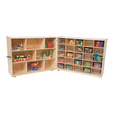 25 Cubby Birch Veneered Folding Storage Cabinet with Additional Shelving and 25 Clear Storage Trays - 48-96