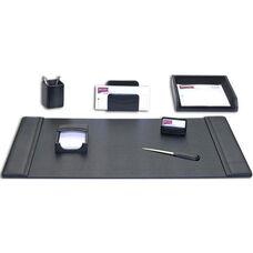 Classic Leather 7 Piece Desk Set - Black