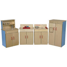 Blueberry Pretend Play Healthy Kids Plywood Classic Appliances with Deluxe Hutch Set - Assembled - Set of 4