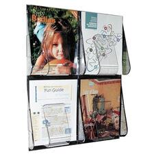 Deflecto Magazine Wall Rack -4 Pocket -18 1/4