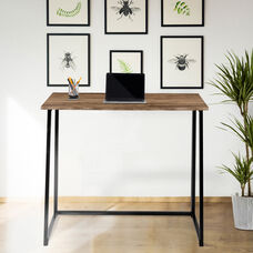 """Small Rustic Natural Home Office Folding Computer Desk - 36"""""""