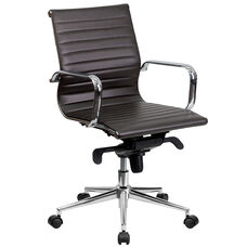 Mid-Back Brown Ribbed Leather Swivel Conference Office Chair with Knee-Tilt Control and Arms