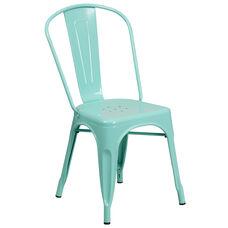 Commercial Grade Mint Green Metal Indoor-Outdoor Stackable Chair